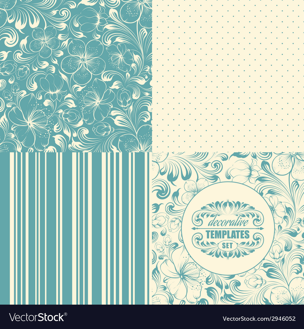 Beautiful seamless backgrounds set vector | Price: 1 Credit (USD $1)