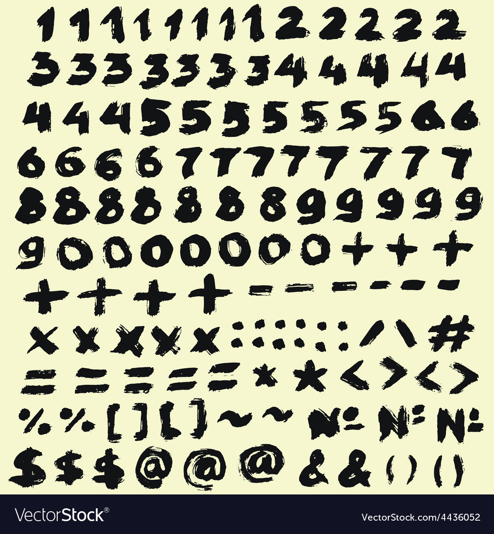Black brush digits vector | Price: 1 Credit (USD $1)