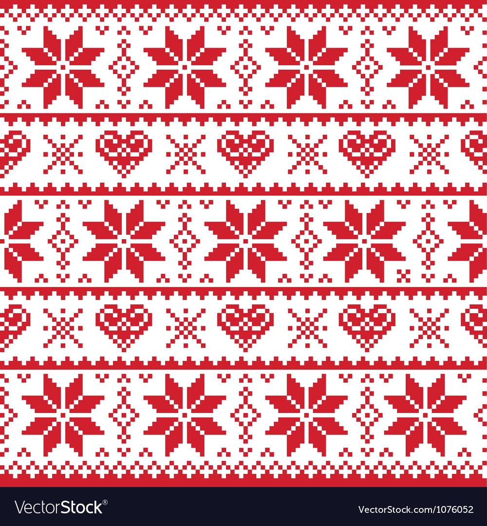 Christmas knitted pattern card - scandynavian vector | Price: 1 Credit (USD $1)