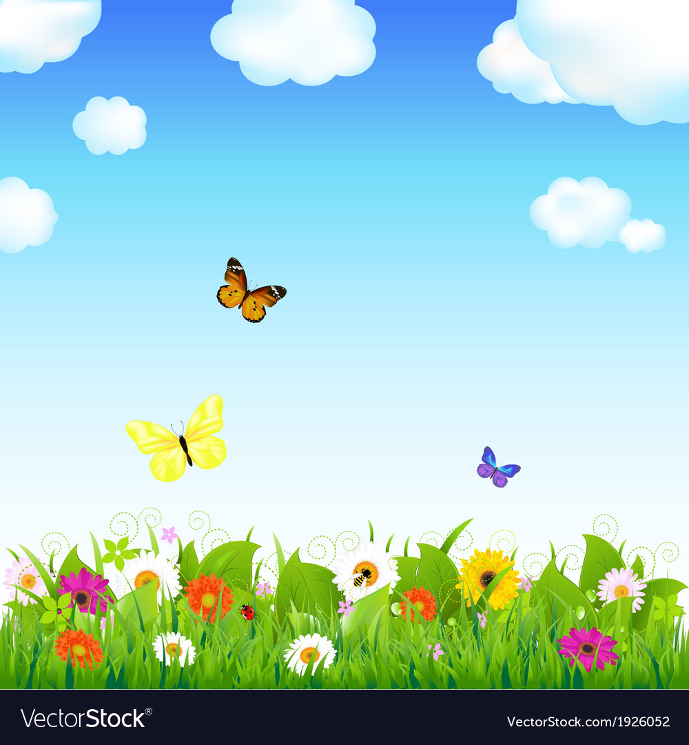 Flower meadow with butterflies vector | Price: 1 Credit (USD $1)