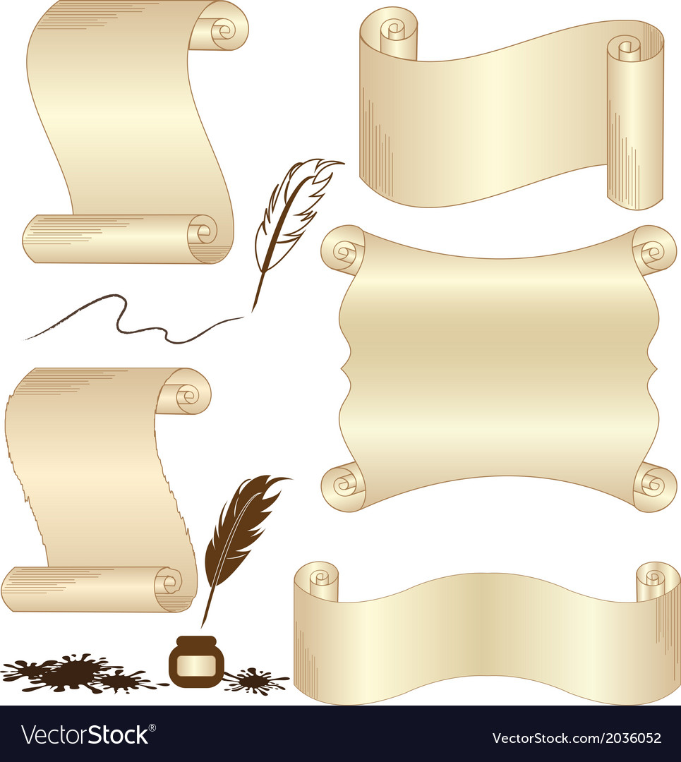 Parchment set with feather isolated vector | Price: 1 Credit (USD $1)