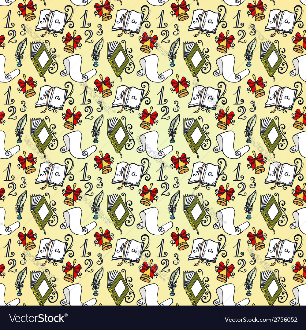 Seamless pattern with school supplies vector   Price: 1 Credit (USD $1)