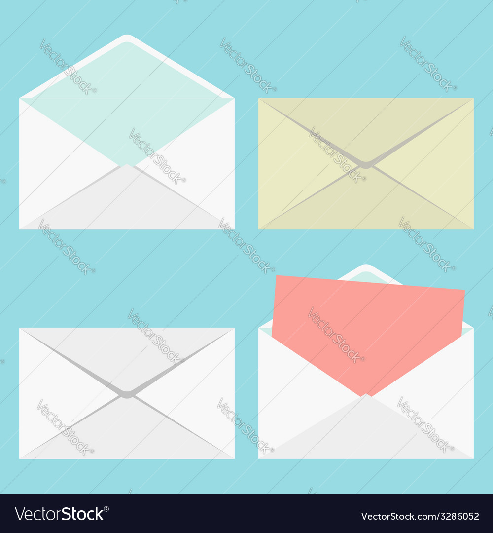 Set of closed and open envelopes vector | Price: 1 Credit (USD $1)