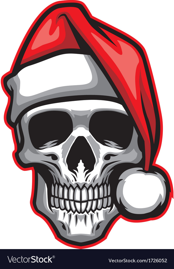 Skull wearing santa claus hat vector | Price: 1 Credit (USD $1)