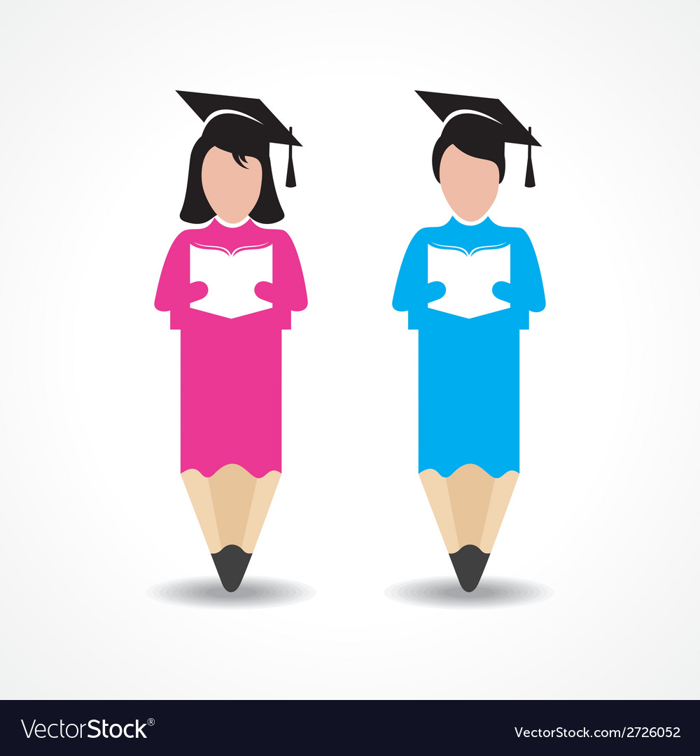 Student design with pencil and wear graduation cap vector | Price: 1 Credit (USD $1)