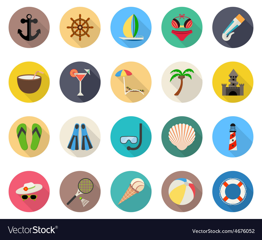 Summer beach vacation icons vector | Price: 1 Credit (USD $1)