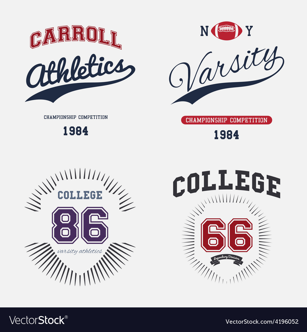 Varsity college print vector | Price: 1 Credit (USD $1)