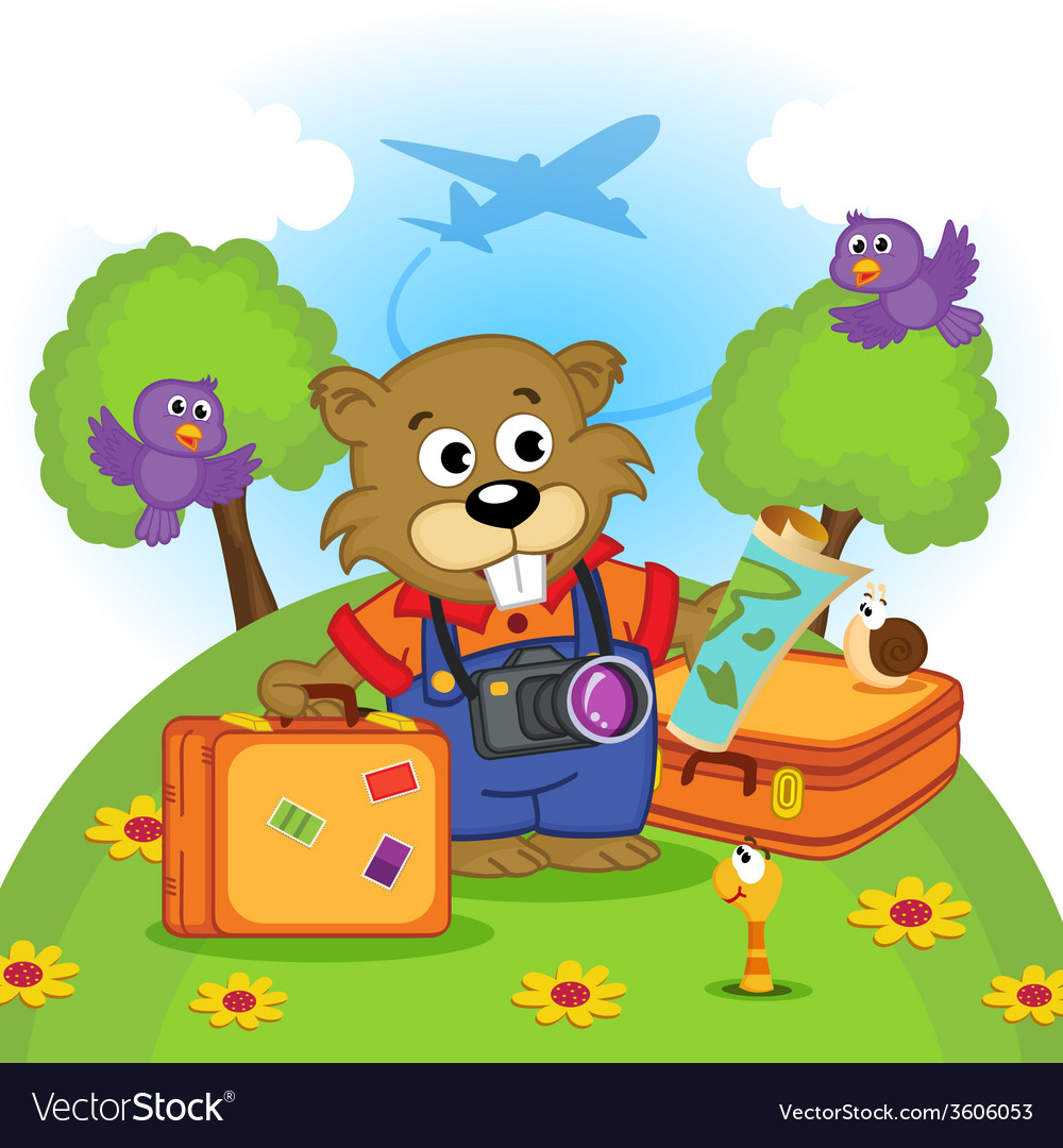 Beaver traveler vector | Price: 3 Credit (USD $3)