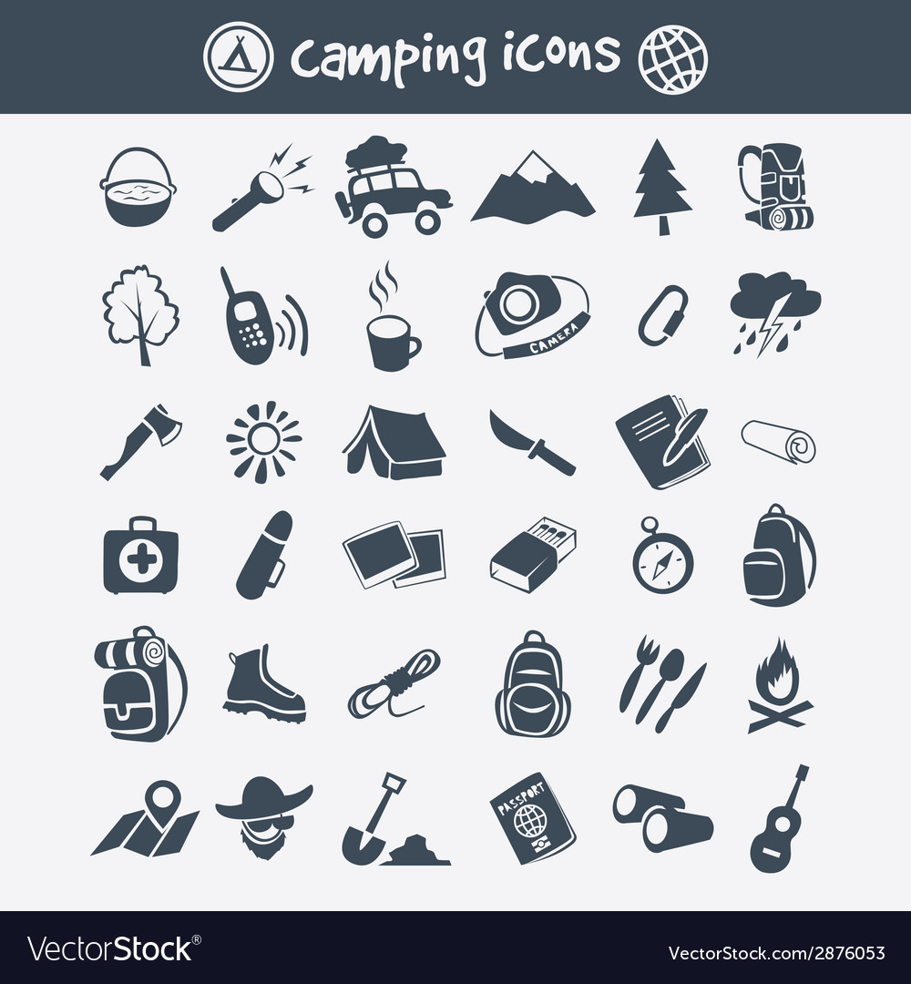 Camping icon set vector | Price: 1 Credit (USD $1)