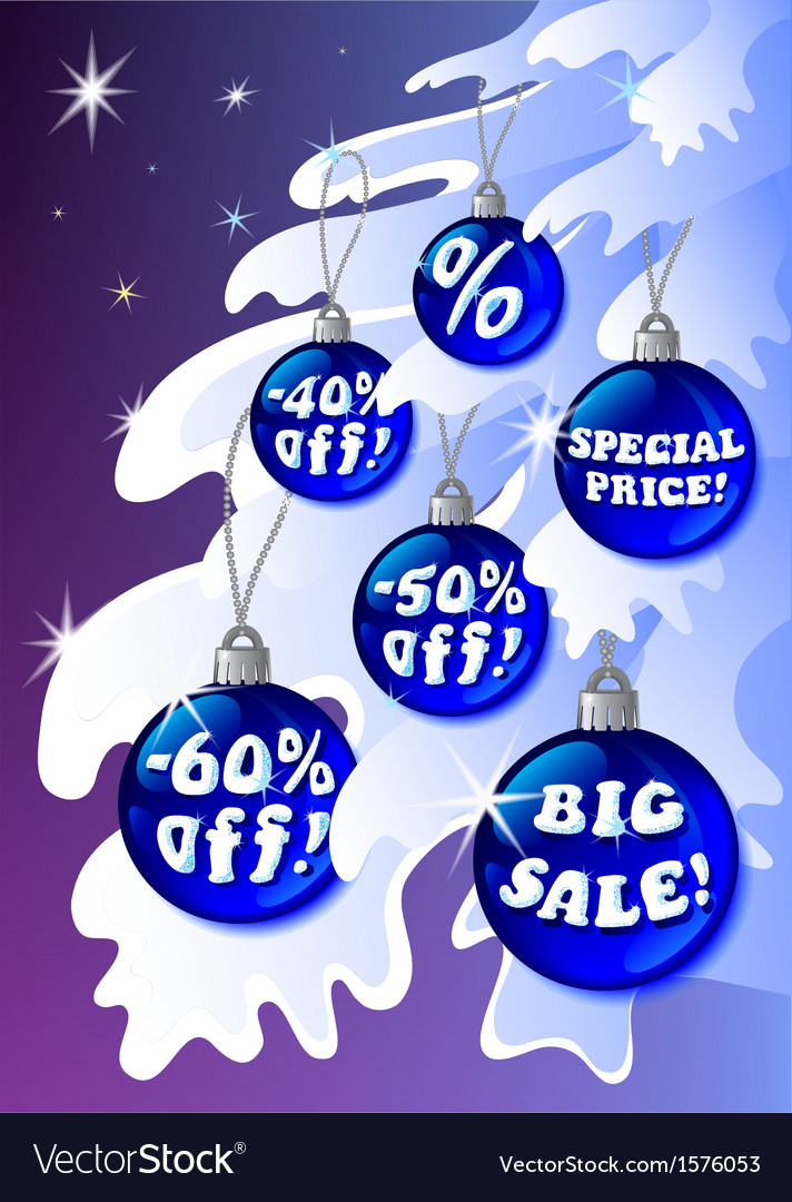 Detailed discount christmas labels on the fir vector | Price: 1 Credit (USD $1)