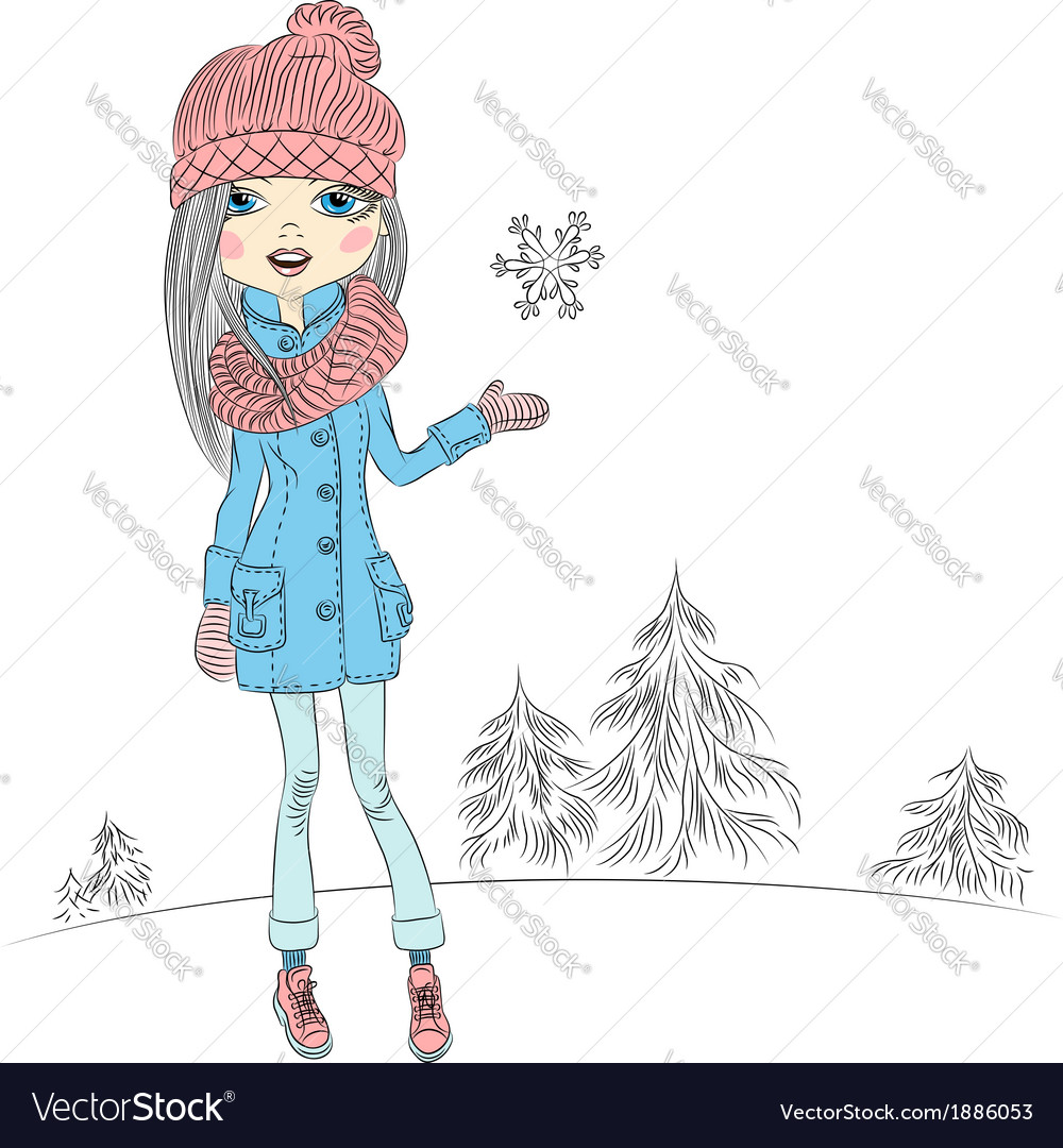 Fashionable hipster girl in winter vector | Price: 1 Credit (USD $1)