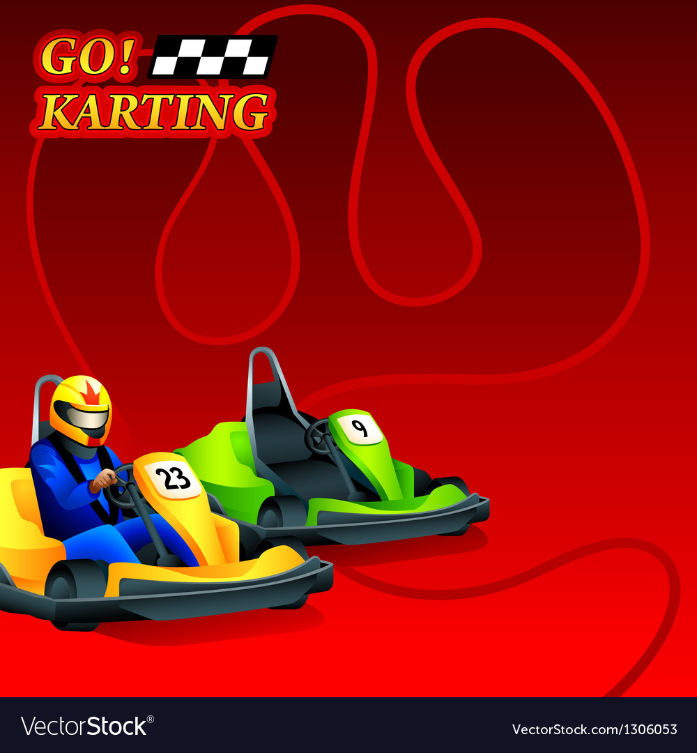 Go karting poster vector | Price: 1 Credit (USD $1)