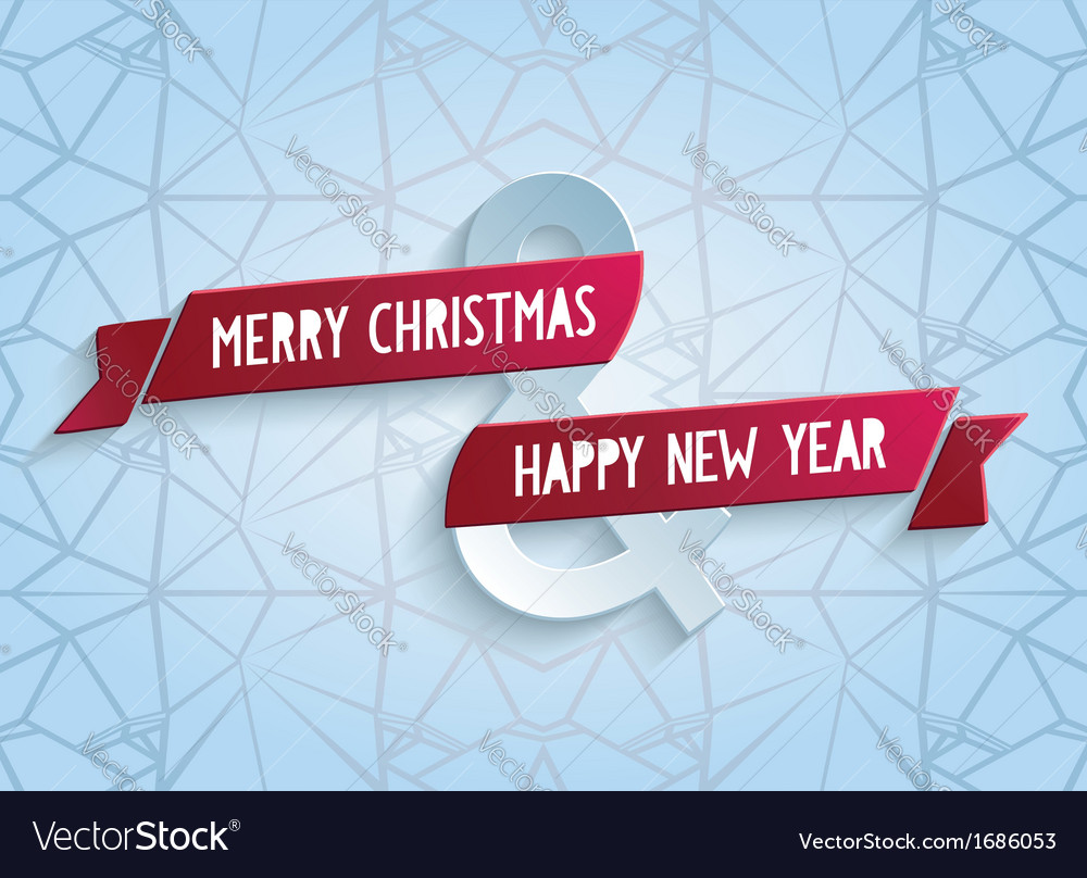 Happy christmas greeting card with red ribbon vector | Price: 1 Credit (USD $1)