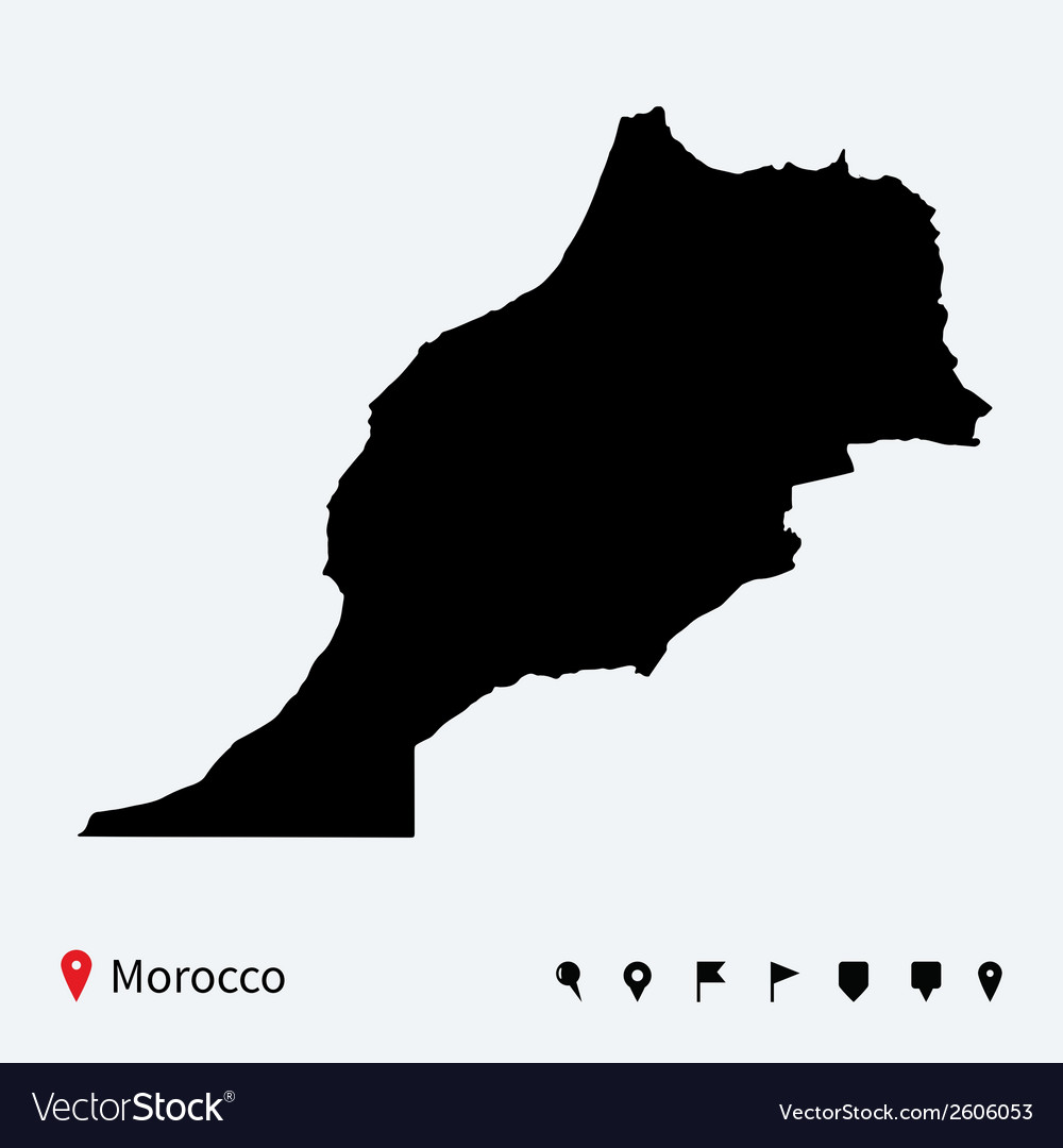 High detailed map of morocco with navigation pins vector | Price: 1 Credit (USD $1)