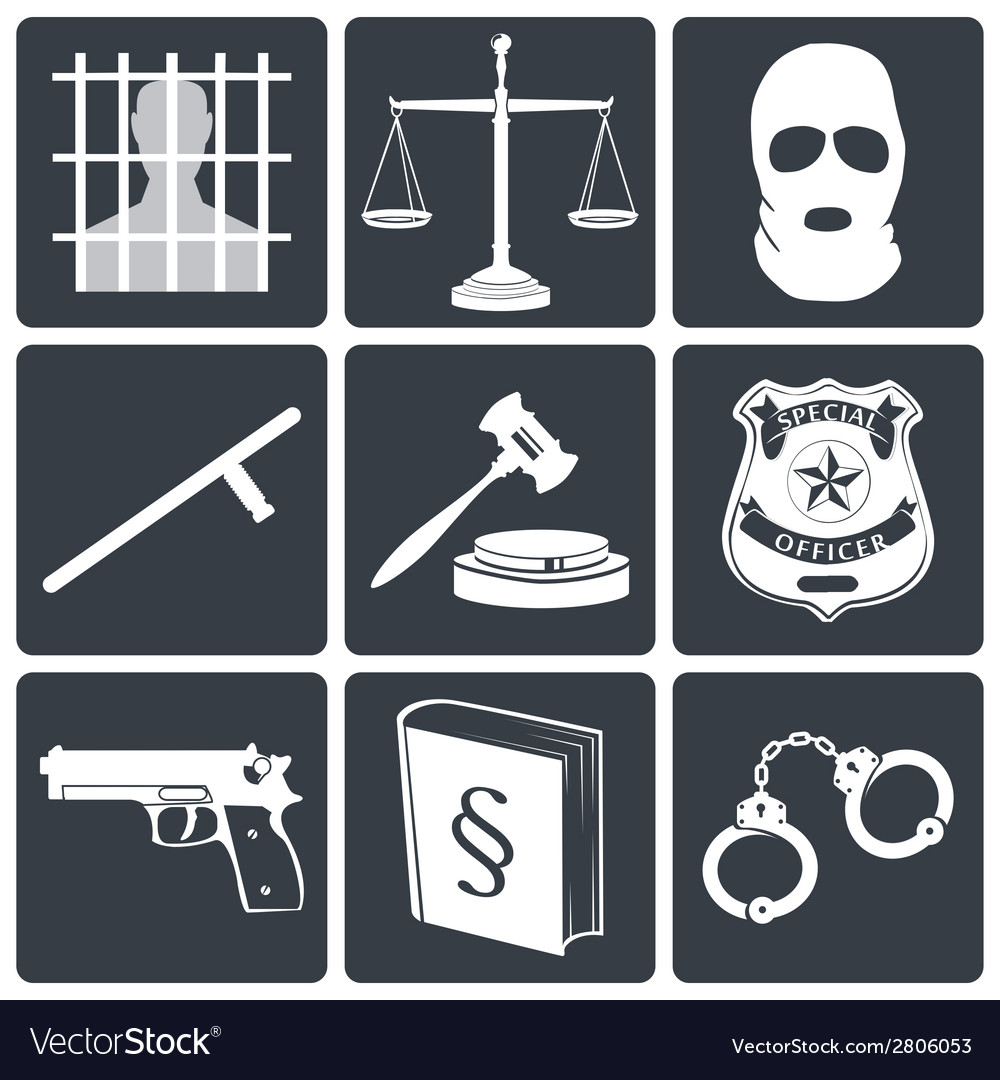 Law and justice icons white on black vector | Price: 1 Credit (USD $1)
