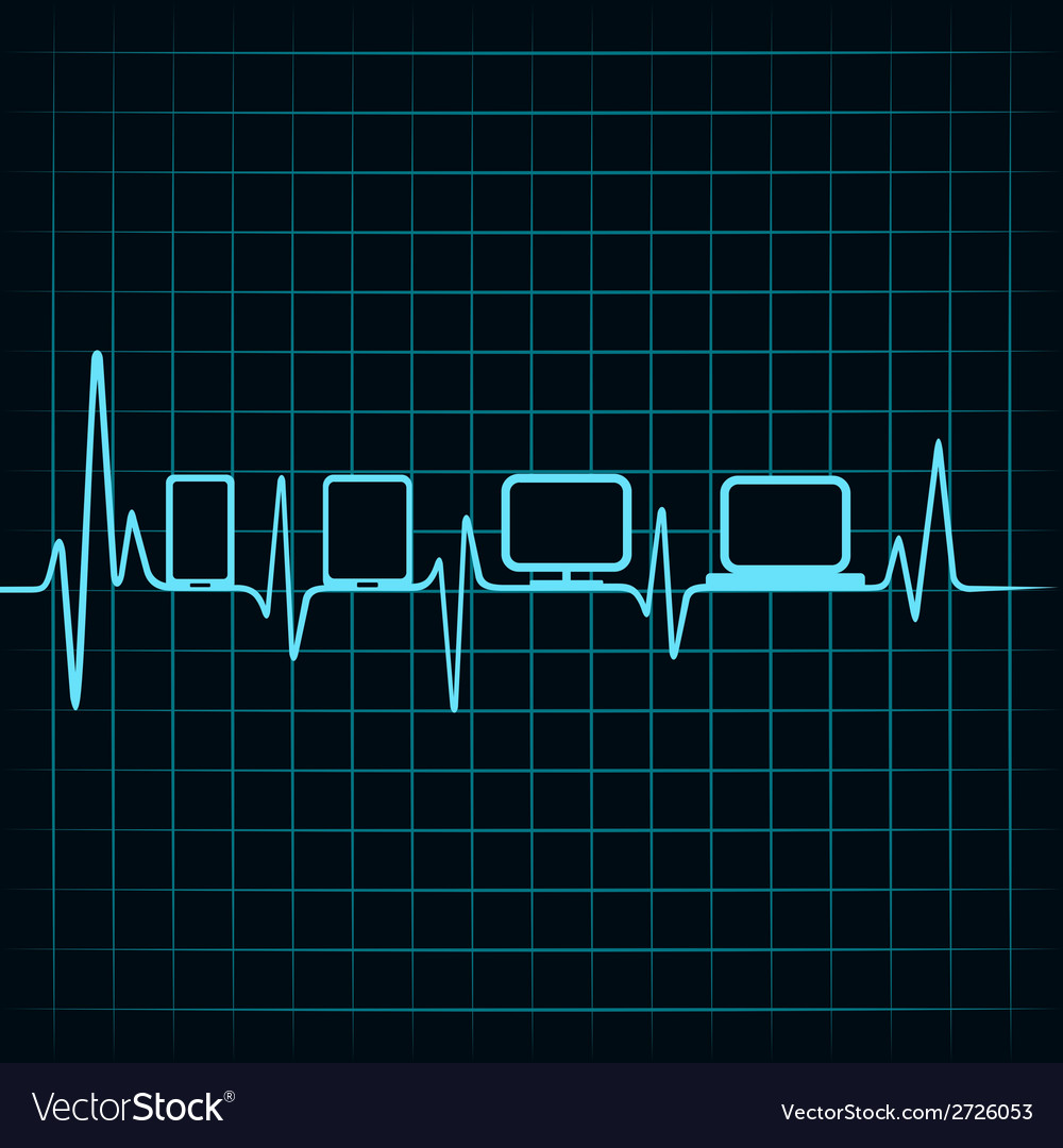 Medical technology concept -heartbeat with gadgets vector | Price: 1 Credit (USD $1)