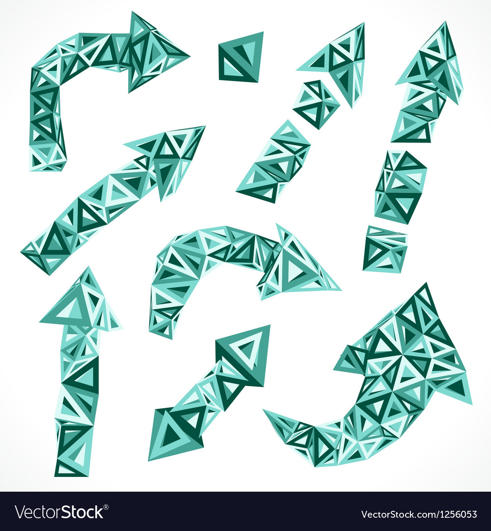 Set of triangular geometric arrows vector | Price: 1 Credit (USD $1)