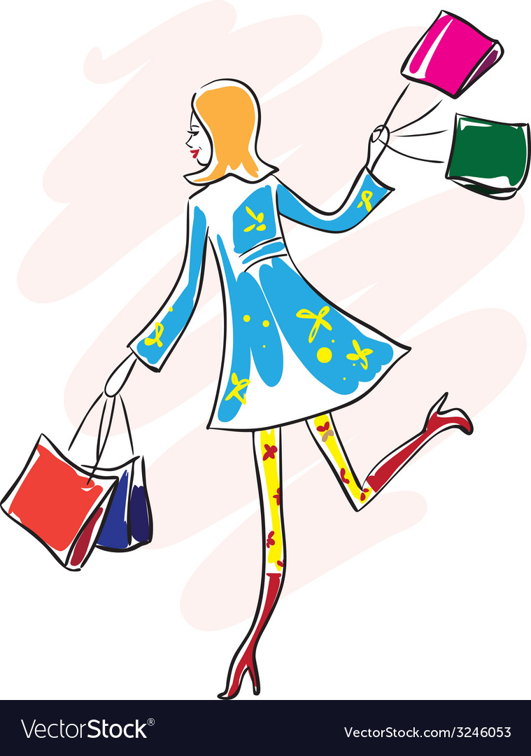 Shopping woman with shopping bags vector | Price: 1 Credit (USD $1)