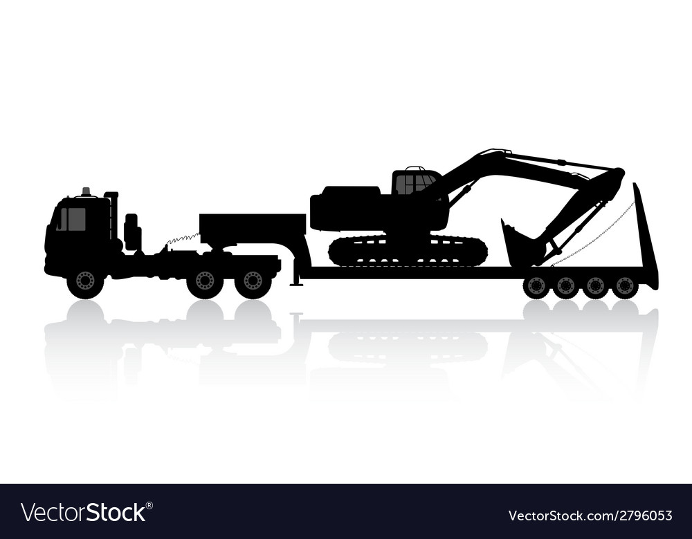 Silhouette of the excavator on the trawl vector | Price: 1 Credit (USD $1)
