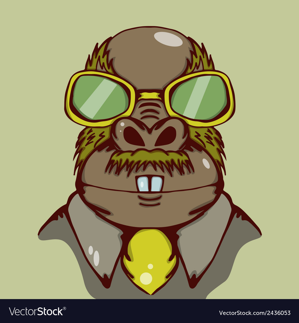 Weird walrus with yellow glasses and vector | Price: 1 Credit (USD $1)