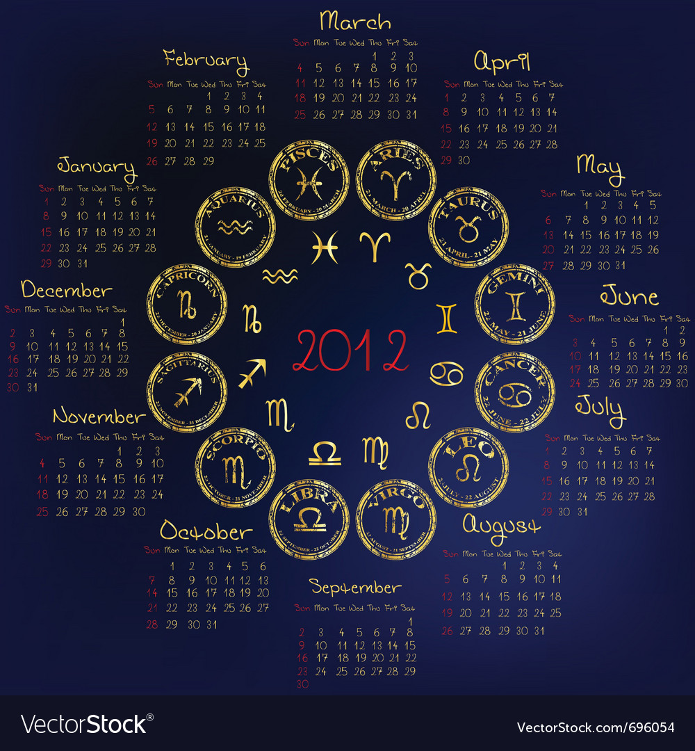 2012 horoscope vector | Price: 1 Credit (USD $1)
