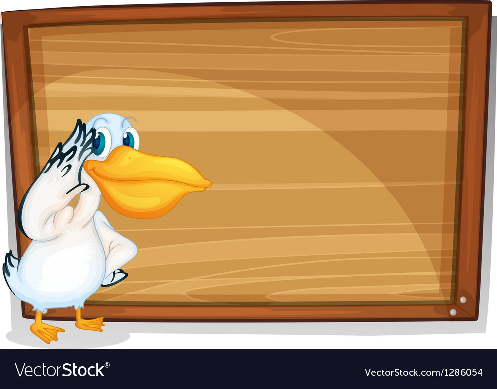 A bird beside a wooden board vector | Price: 1 Credit (USD $1)