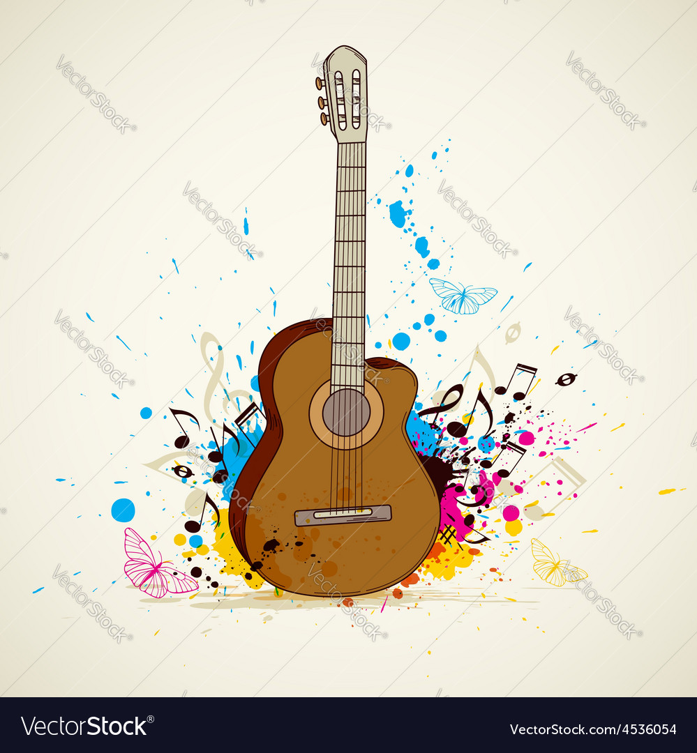 Abstract music background with guitar vector | Price: 1 Credit (USD $1)