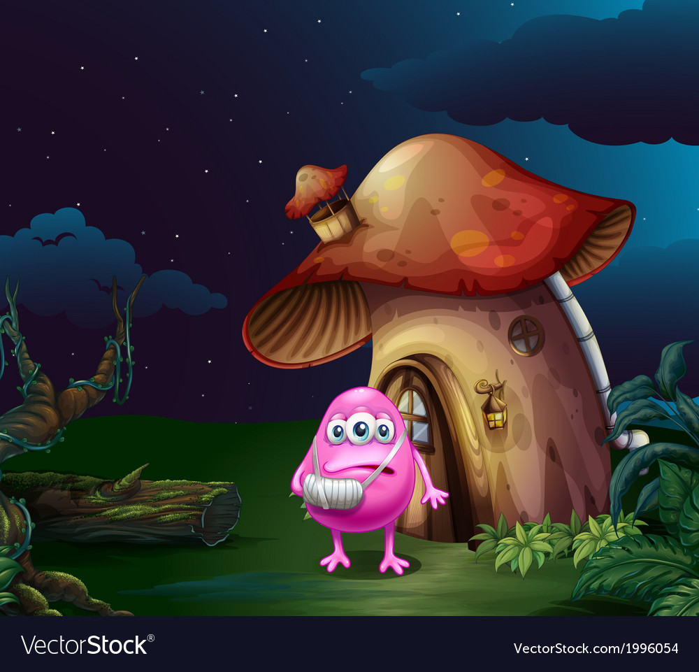 An injured pink monster near the mushroom house vector | Price: 3 Credit (USD $3)