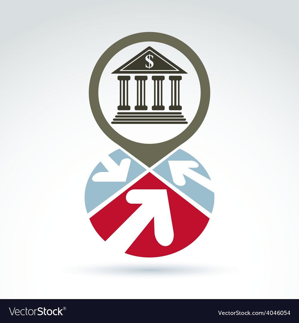 Bank building with arrows icon conceptual symbol vector | Price: 1 Credit (USD $1)