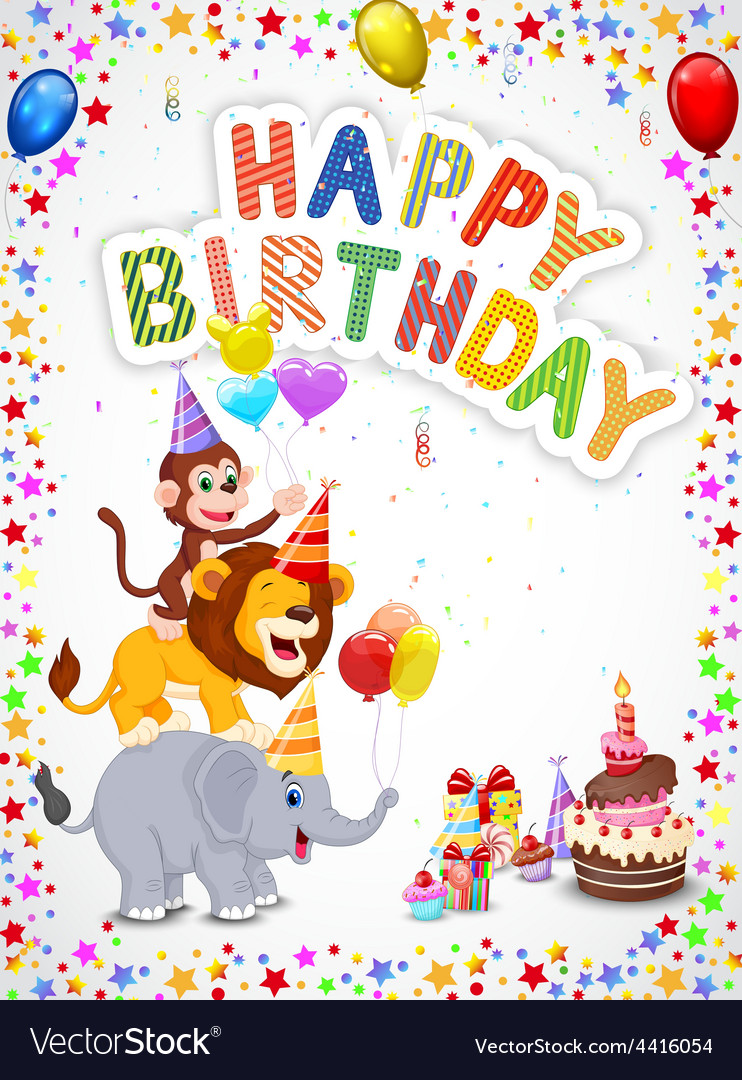 Birthday background with happy animals vector | Price: 1 Credit (USD $1)