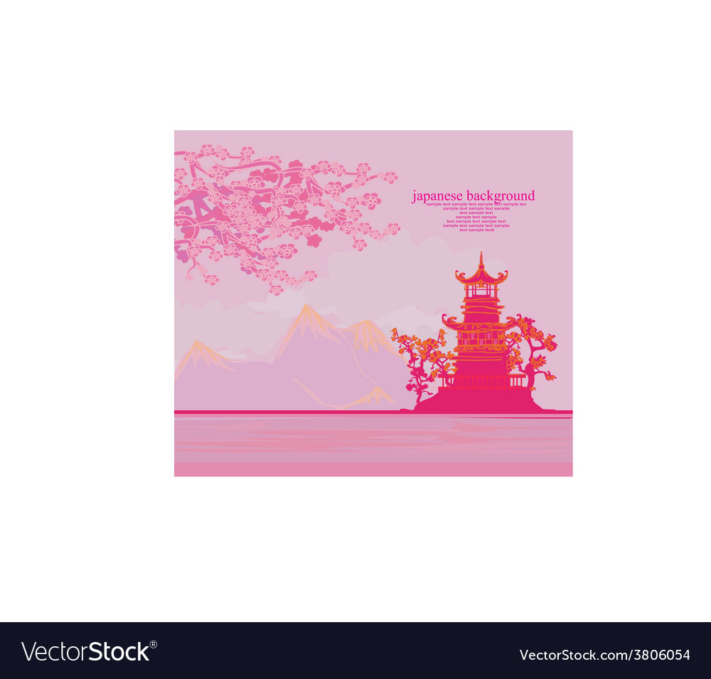 Chinese old building on abstract asian landscape vector | Price: 1 Credit (USD $1)