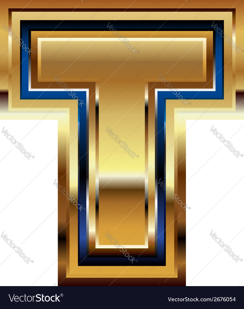 Golden font letter t vector | Price: 1 Credit (USD $1)