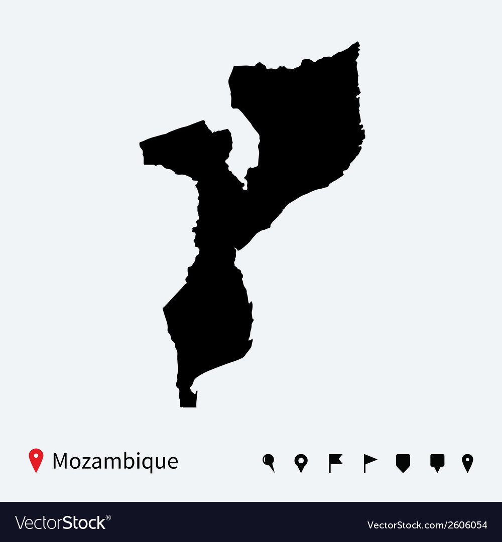 High detailed map of mozambique with navigation vector | Price: 1 Credit (USD $1)