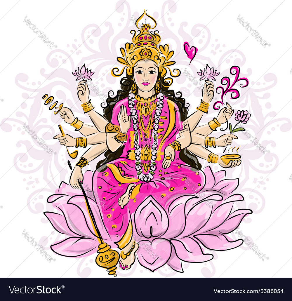 Indian goddess shakti sketch for your design vector | Price: 1 Credit (USD $1)