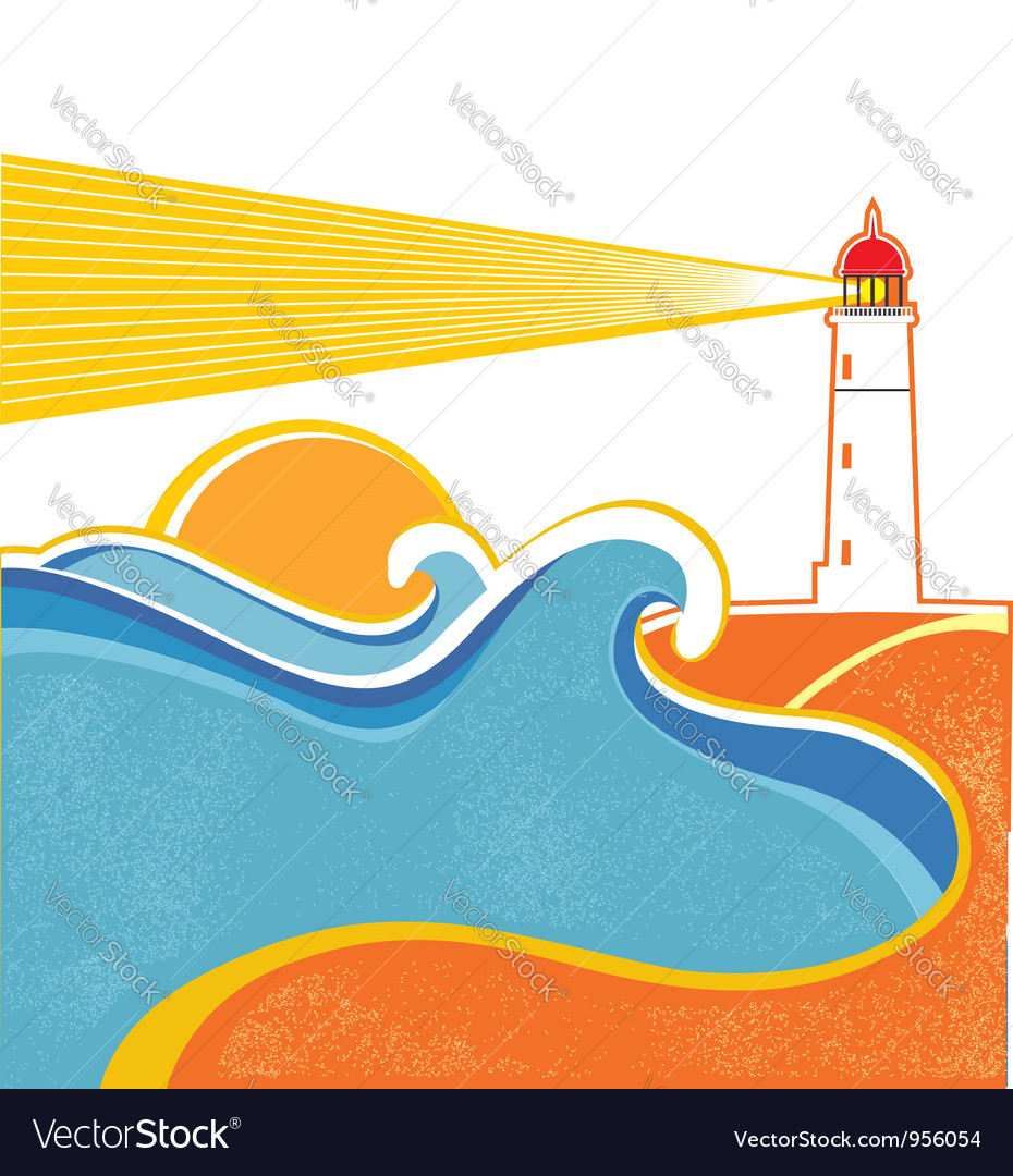 Lighthouse and sea waves abstract seascape on vector | Price: 1 Credit (USD $1)