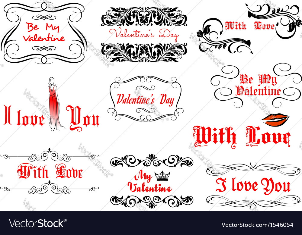 Love and valentines day headlines vector | Price: 1 Credit (USD $1)