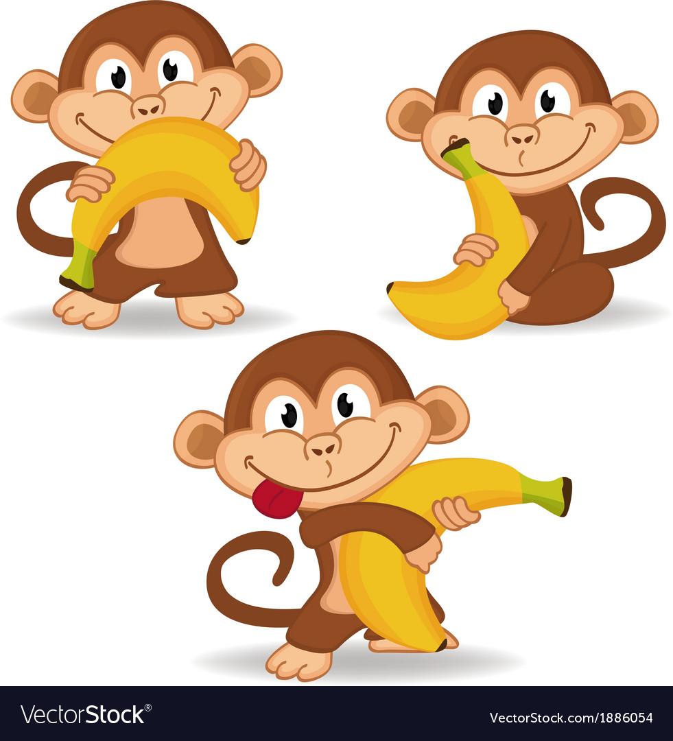 Monkey and banana vector | Price: 1 Credit (USD $1)