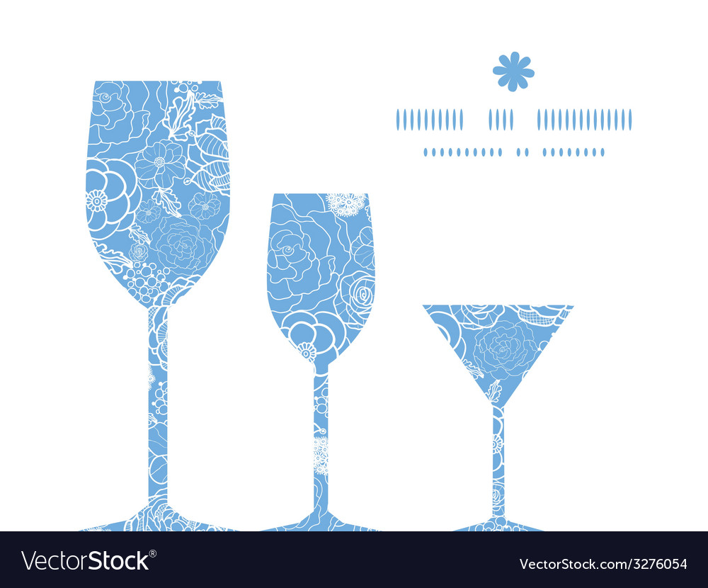 Purple lace flowers three wine glasses silhouettes vector | Price: 1 Credit (USD $1)