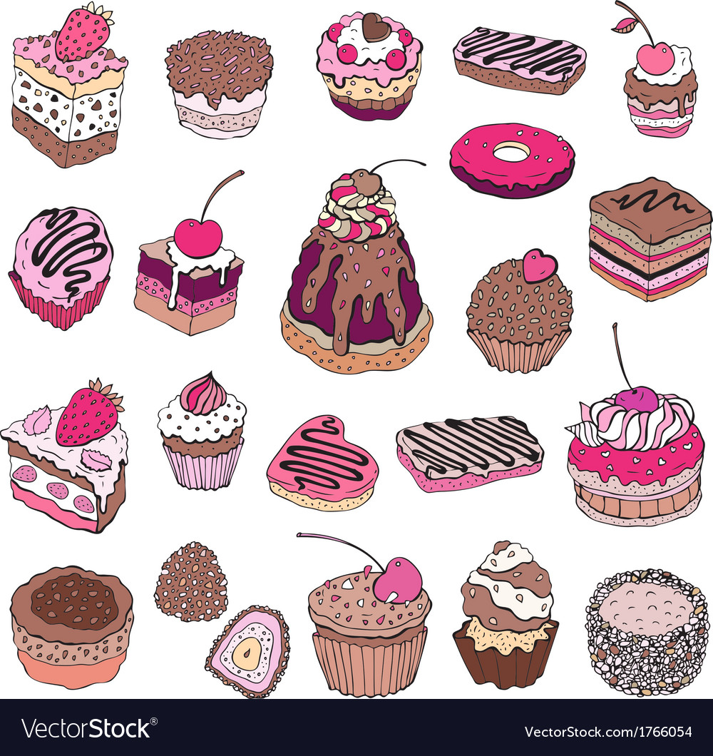 Set of cute cake vector | Price: 1 Credit (USD $1)