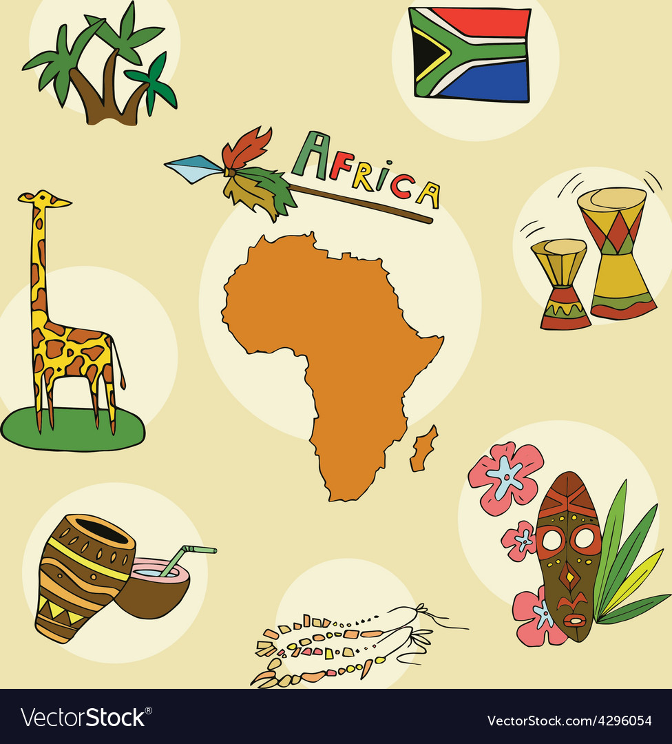 Set of national profile of the africa contine vector
