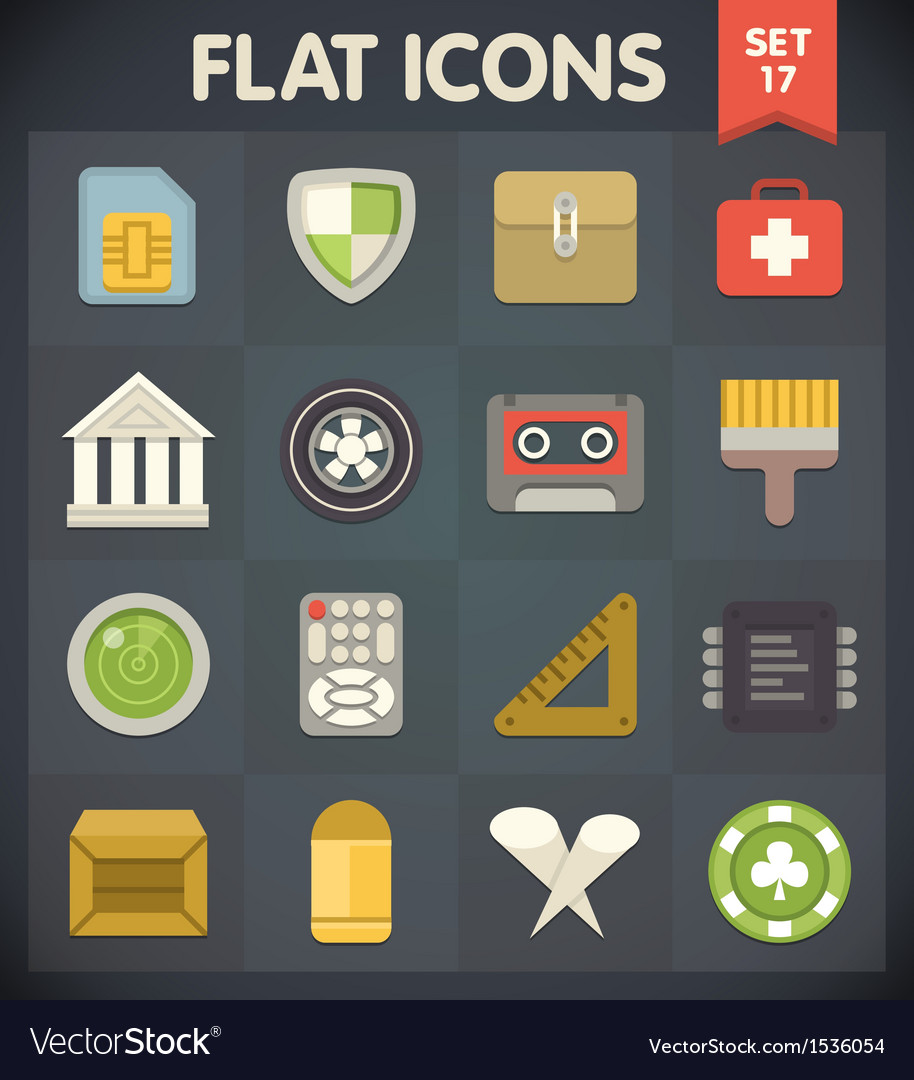 Universal flat icons for applications set 17 vector | Price: 1 Credit (USD $1)