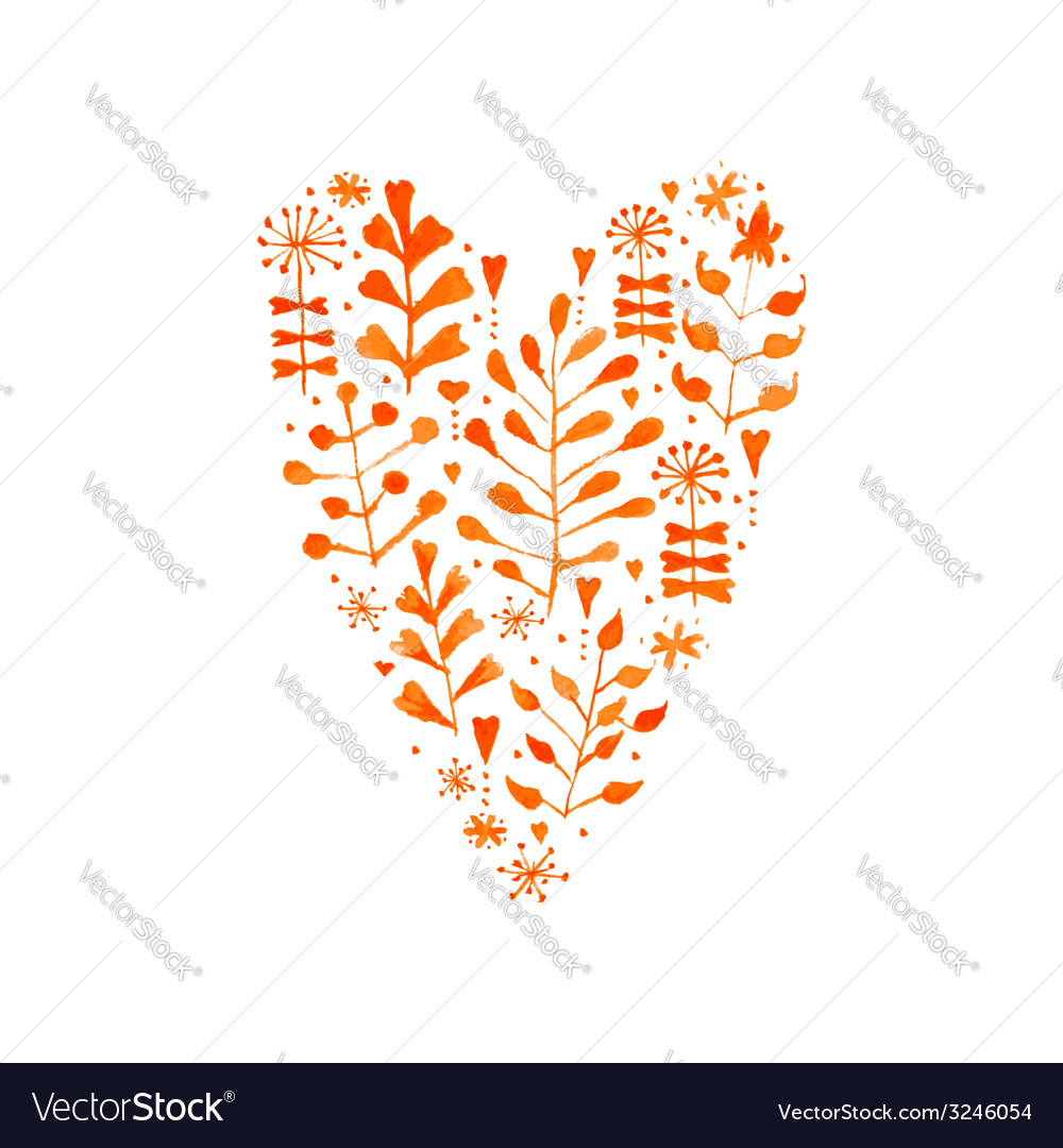 Watercolor floral heart vector   Price: 1 Credit (USD $1)