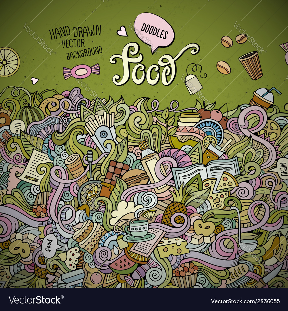 Abstract decorative doodles food background vector | Price: 1 Credit (USD $1)