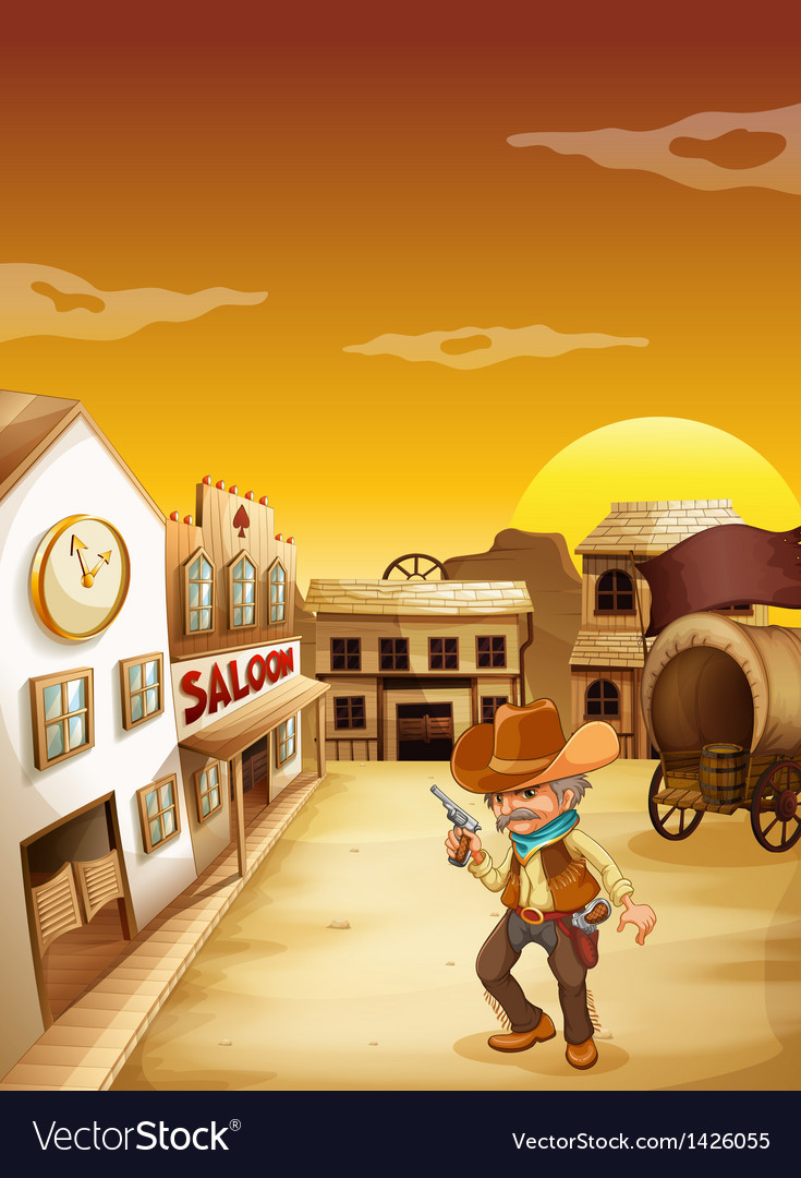 An old cowboy holding a gun outside the saloon vector | Price: 1 Credit (USD $1)