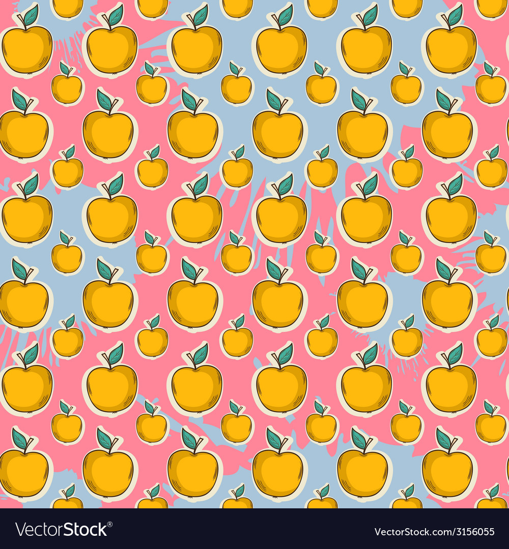 Big yellow apple pattern on color blots ink vector | Price: 1 Credit (USD $1)