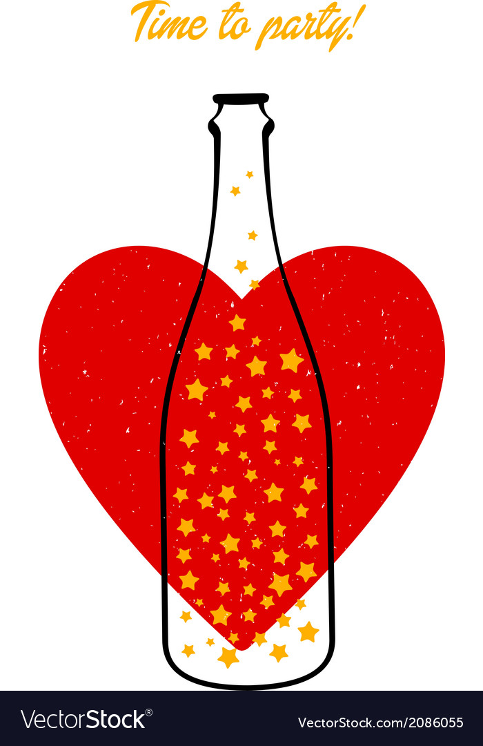 Bottle and heart vector | Price: 1 Credit (USD $1)