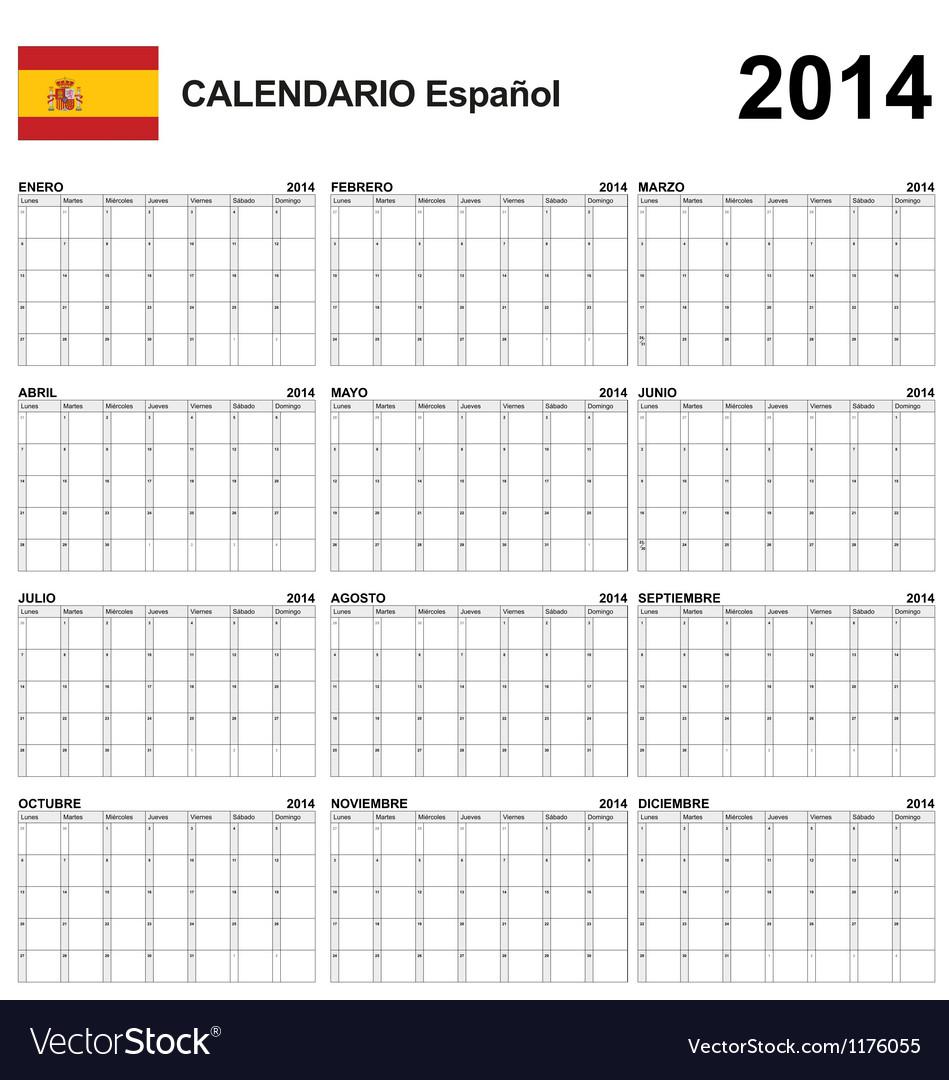 Calendar 2014 spain type 22 vector   Price: 1 Credit (USD $1)