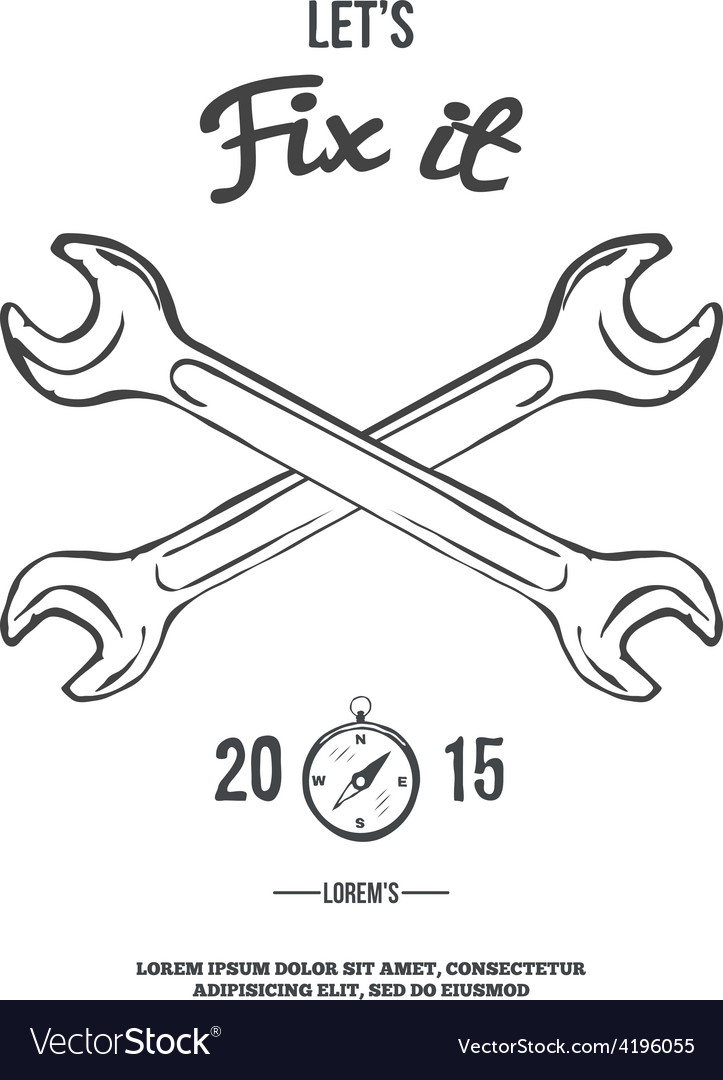 Crossed spanners lets fix it vector   Price: 1 Credit (USD $1)