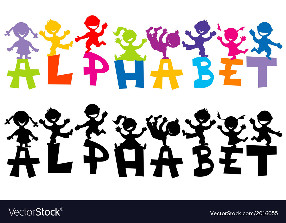Doodle children with alphabet letters vector | Price: 1 Credit (USD $1)