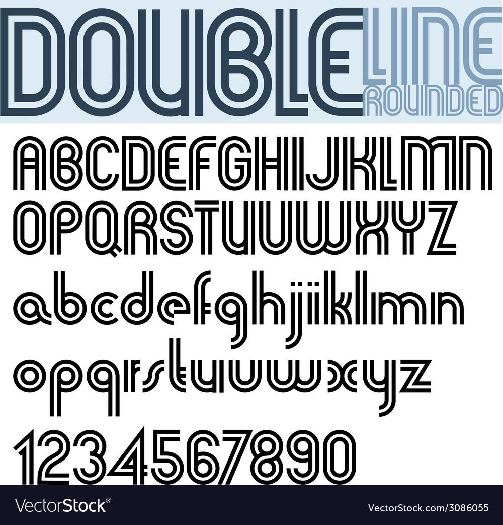 Double line retro style geometric font vector